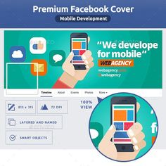 Mobile Development FB Cover by TemplatesMonster Facebook Cover Template, Facebook Timeline Covers, Creative Facebook Cover, Free Website Templates, Edit Text, Fb Covers, Mobile Covers, Text Color, Vector Design