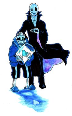 """… and that's it! Darker Yet Darker is now complete. I know """"abusive parent"""" isn't the role most people would choose for the mysterious Dr. Gaster. I think a benevolent role would suit him just as well and would address some of the clues Toby left... >>> get your haND OFF OF MY POOR BABY YOU WEIRD MAN *pulls sans away and hugs him* I WILL take him away from you don't test my determination! >:<"""