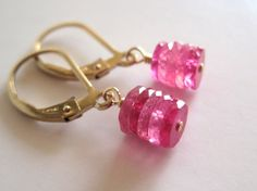Pink sapphire earrings gold leverback sapphire by KahiliCreations, $42.00