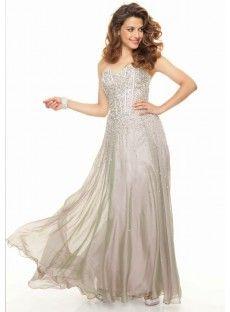 Sweetheart Floor Length Chiffon Sheath Column Grey Prom Dress