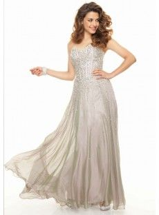 Sweetheart Floor Length Chiffon Sheath Column Grey Prom Dress