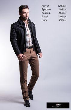 Propozycja casualowa z czarną kurtką skórzaną Constantino 13/12 DH i brązowymi spodniami Luciano slim #giacomoconti