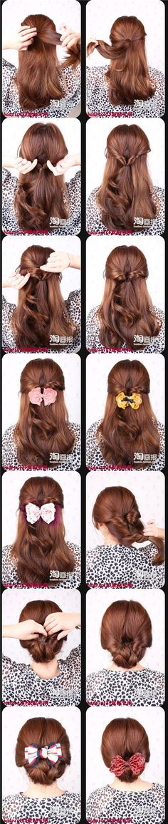 I think just leaving it double twisted, one at the top and one lower (for a twisted pony tail) would be so dang cute!