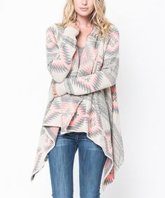 Another great find on #zulily! Coral Geometric Open Cardigan #zulilyfinds