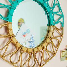 Sunrise Rattan Mirror (Teal) | The Land of Nod
