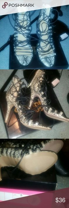 NWB lace up snake skin heel sandals 8 They look so expensive and so on trend. From Charlotte Russe, sold out. Shoes Heels