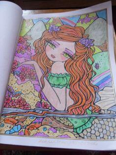 Book - Mermaids.Fairies and Other Girls of Whimsy. Artist - Hannah Lynn Media - Marco Raffines colouring pencils,sakura and folia gel pens. Spectrum Noir sparkle pen (Lady Leprechaun)