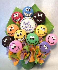 Get Well Cookie Bouquet: This unique get well gift will put a smile on their face! www.cookietemptations.com