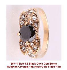 Size 9.5 Black Onyx GemStone Austrian Crystals 14k Rose Gold Filled Ring + Box #Unbranded #Cocktail