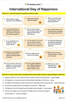 This is a FREE speaking exercise on the topic of International Happiness Day. Students ask and answer the questions in pairs or small groups and then discuss some famous quotes about happiness. Click through to register and download. #HappinessDayESL #TeachEnglish #LearnEnglish #TESOL #TESL #TEFL #ELT #ESL #EFL #TeachingEnglish #TEFLtimesavers #EnglishHandouts #EnglishWorksheets #TEFLlessonPlans Esl Lessons, Online Lessons, English Lessons, Learn English, Efl Teaching, Free Teaching Resources, Teaching English, Feeling Happy, How Are You Feeling