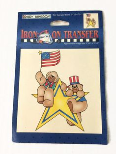 Star Spangled Bears Iron-on Transfer Patriotic Teddy Bears Red White Blue Daisy Kingdom Decal by ThriftyTheresa