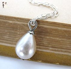 Marie Antoinette Vintage Pearl Necklace Ivory Teardrop Sterling Silver - Bridesmaid gifts (*Amazon Partner-Link)