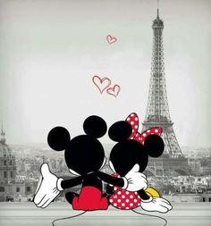 Mickey and Minnie in Paris - Disney Liebe Arte Do Mickey Mouse, Mickey Mouse Drawings, Mickey Mouse And Friends, Disney Drawings, Mickey Mouse Pictures, Drawing Disney, Mickey Mouse Wallpaper Iphone, Cute Disney Wallpaper, Cute Cartoon Wallpapers