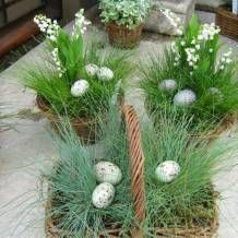Lovely gift for Easter: a natural looking basket with a pot of perennial grass and eggs - I'd put the latter in a faux nest tucked into the grass.