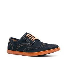 Hush Puppies Blue Wing Tips with Contrast Soles.