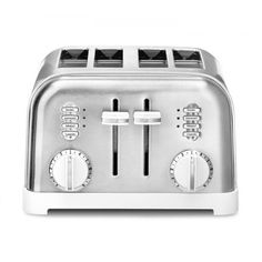 Cuisinart Metal Classic Toaster, White and Stainless - Kitchen Appliances Lists Products Toaster Ovens, Bread Toaster, Stainless Steel Toaster, Brushed Stainless Steel, White Toaster, Steel House, Classic Series, Houses, Gifts
