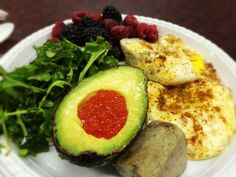 Eggs With Curry, Avocado And Salmon Roe, Berries, Arugula With Olive Oil And Vinegar, and Liver Pate: 4/9/14