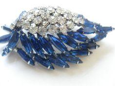 Vintage Brooch Layered Royal Blue Navettes by ErmaJewelsVintage, $55.00