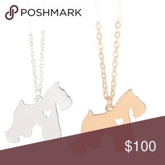 """Schnauzer's 1️⃣Gold Left Gold or silver plated 17"""" Jewelry Necklaces"""