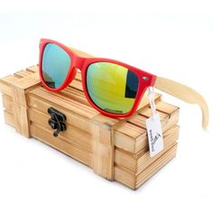 9e764198536 BOBO BIRD Red Frame Bamboo Legs Polarized Sunglasses