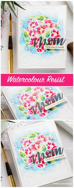 Heat embossed resist watercolour handmade floral Mother's Day card by Debby Hughes. Find out more here: http://limedoodledesign.com/2018/04/video-heat-emboss-resist-watercolouring-simon-says-stamp-blog-hop/