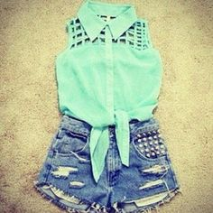 hightop shorts with a green silk tanktop <3