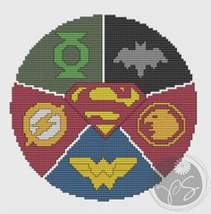 Justice League ... no color chart available, just use pattern chart as your color guide.. or choose your own colors...