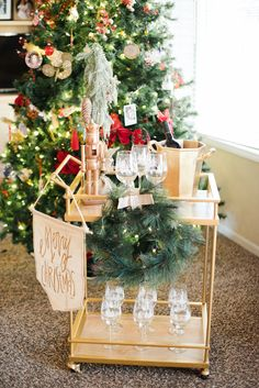 christmas bar cart party ready holiday party themes holiday parties bar cart styling - Christmas Party Decorations Pinterest