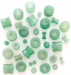 """Green Jade Aventurine Stone Hollow Saddle Plug Flesh Tunnel Earlet - Available in Sizes 8g - 1/2"""""""
