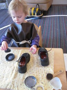 Shoe Polishing: Spiff Up for the Holidays from Montessori Messy