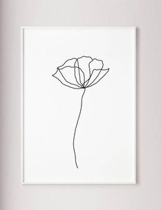 Poppy flower wall line art print, minimalist modern art decor, one line art, contour drawing, wabi sabi art, black and white botanical poster Poppy wall line art print minimalist modern art