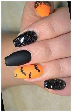 Holloween Nails, Halloween Acrylic Nails, Cute Halloween Nails, Halloween Nail Designs, Cute Acrylic Nails, Acrylic Nail Designs, Cute Nails, Nail Art Designs, Nails Design