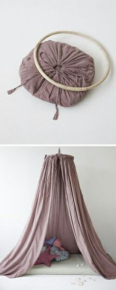 QUICK & EASY READING TENT. COULD TOTSLLY PUT A PLANT HOOK ON THE CELING TO MAKE THIS!