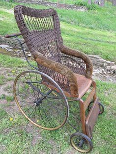 Antique Wooden & Wicker Wheelchair by GENDRON Wheel Co. Toledo, OH Very Unique  #MissionArtsCrafts #GendronWheelCompanytoledoohio