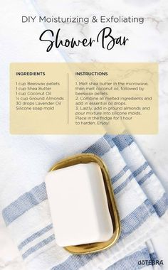 Make this moisturizing shower bar easily at home with your favorite doTERRA essential oils. Soap Making Recipes, Soap Recipes, Doterra Essential Oils, Essential Oil Blends, Doterra Oil, Lotion Bars, Diy Skin Care, Home Made Soap, Lavender Oil
