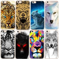 African Cheetah Wolf Printed Pattern TPU Case For iPhone 7 6 6S Plus 5S SE 5 Soft Back Cover Shell Phone Cases Fundas Coque