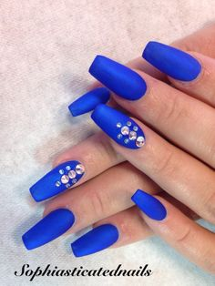 Matte blue Blue Matte Nails, Acrylic Nail Art, Coffin, Nail Design, Design Ideas, Shapes, Nail Designs, Acrylic Nail Designs