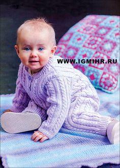 Сиреневый комбинезон с косами для малыша в возрасте от 1 до 12 месяцев. Спицы