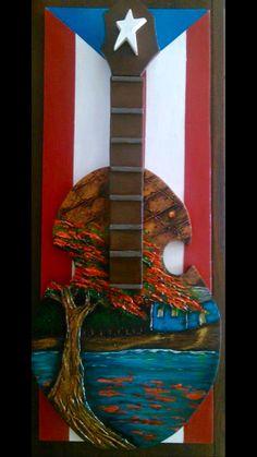 Artesanía de Puerto Rico.Cuatro puertorriqueño, flamboyán y casita en el rio sobre bandera de Puerto Rico.Puerto Rico art and crafts.