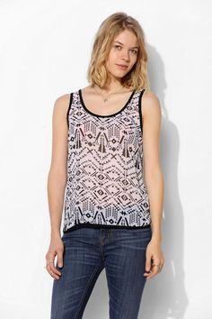 Lucca Couture Knit-Back Chiffon Tank Top