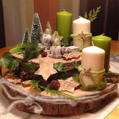 "My ""Advent wreath"" # advent wreath # wood # Wichtel # birch star # Christmas tree - Decoration is My Job Centerpiece Christmas, Christmas Advent Wreath, Noel Christmas, Christmas Candles, Xmas Decorations, Winter Christmas, Diy Advent Wreath, Nordic Christmas, Green Christmas"