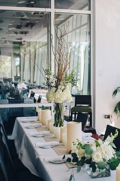 Elegant simple wedding center pieces at Surfing Deer in Seagrove, Fl  Serene Occasions Michelle Castle Photography