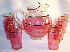 Cranberry Flashed Ball Pitcher & Tumbler Set --- For sale on Ruby Lane $88.00
