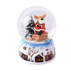 Lightahead Christmas Snow Water Globe with falling Snowflakes - music playing Water ball Table Top Decoration in Polyresin (Reindeer)