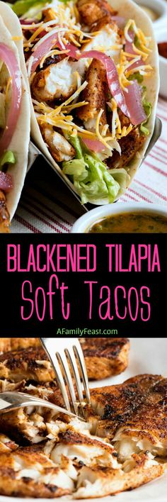 These Blackened Tilapia Soft Tacos are a simple, delicious and affordable weeknight meal – as well as a great addition to any taco night buffet. Salmon Recipes, Fish Recipes, Seafood Recipes, Mexican Food Recipes, Cooking Recipes, Healthy Recipes, Ethnic Recipes, Mexican Dishes, Yummy Recipes