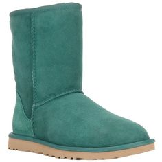 Ugg Australia 'Classic Short' boot ($155) ❤ liked on Polyvore featuring shoes, boots, ankle booties, uggs, green, round toe booties, rounded toe boots, round toe boots, shearling-lined boots and rubber sole boots