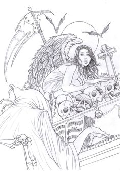 Death by raffa3le          Angel Fantasy Myth Mythical Legend Wings Warrior Valkyrie Anjos Goth Gothic Coloring pages colouring adult detailed advanced printable Kleuren voor volwassenen coloriage pour adulte anti-stress kleurplaat voor volwassenen