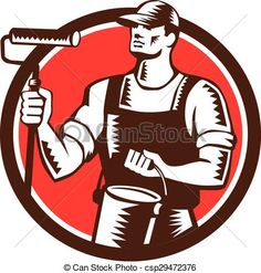 Illustration of a house painter holding paint roller and paint can looking to the side set inside circle on isolated background done in retro woodcut Painting Logo, Knight On Horse, House Painter, Painting Contractors, Flag Icon, Painting Services, African Elephant, Vector Art, Vector Stock