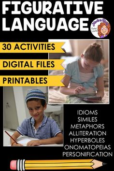 Figurative language is SUCH a fun English language arts topic to tackle with students! Kids love learning about onomatopoeias, hyperboles, idioms, personification, and more because they tend to be so silly and fun to read and write. This resource pack includes a variety of printables or Google Classroom digital versions that you can use to teach and practice figurative language in your upper elementary classroom. You definitely want to click through to grab this ELA activity pack for your… Writing Resources, Teaching Writing, Teaching English, Language Activities, Classroom Activities, Figurative Language Activity, Similes And Metaphors, Alliteration, English Language Arts