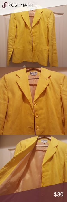 Yellow Linen Vintage Blazer My Mom's Closet....gorgeous yellow linen blazer. Pictures don't do it justice. It's really nice! Fully lined with straight cut flattering styling. I would wear it if it for me. Need other measurements just ask. No stains needs pressing. All buttons firmly in place. Make an offer! Mom used to have a corporate job and I am helping her. Saved years of great classic professional clothes. bagatelle Jackets & Coats Blazers